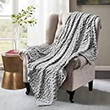 HOMEIDEAS Fleece FlannelSoft Summer Blanket ThrowSize, 50X61Inches Printed Blanket for Couch/Sofa/Bed for All Season, Leopard/Cheetah,Grey