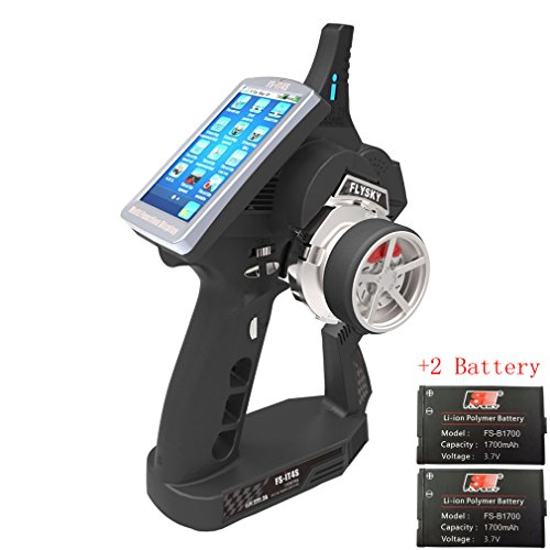 QWinOut Flysky FS-IT4S 2.4GHz 4CH AFHDS 2 RC Boat Car Radio System Transmitter with Touch Screen FS iT4S Better Than iT4 i4 Come with 2 Batteries