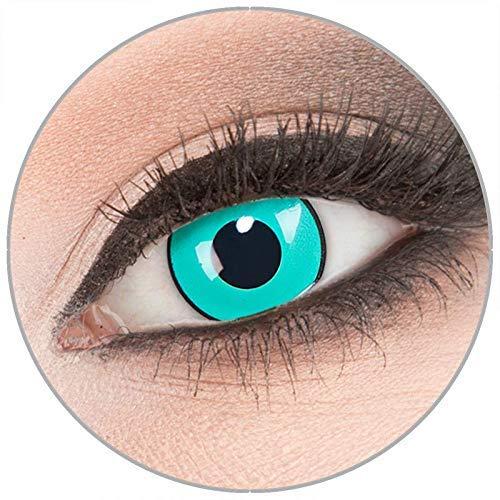 Farbige 'Gara' Kontaktlinsen von 'Evil Lens' zu Fasching Karneval Halloween 1 Paar grüne Crazy Fun Kontaktlinsen mit Behälter in Topqualität ohne Stärke