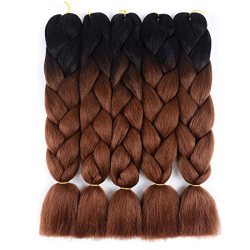 Ombre Jumbo Braids Hair Kanekalon Braiding Hair Synthetic Hair Extensions for Jumbo Braiding Crochet Twist Box Braids 24 Inch 2 Tone Black to Dark Brown 5 Packs Jumbo Braiding Hair