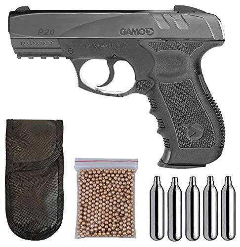Tiendas LGP - Gamo, Pistola perdigon Gamo GP-20 Combat. Calibre 4,5 mm. 3,5 Julios + Funda Portabombonas + 500 balines + 5 Bombonas CO2