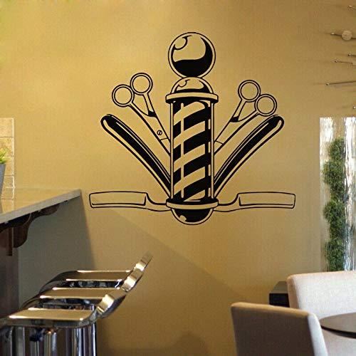 JXWH kapsalon wandsticker kapper kamschaar raamdecoratie vinyl wandtattoo afneembaar voor kapsalon decoratie