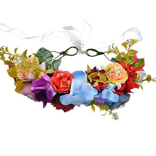 Haarband voor bruiloft, boho-stijl, bloemenkroon, met verstelbare band, voor vrouwen en meisjes, Kleurrijk