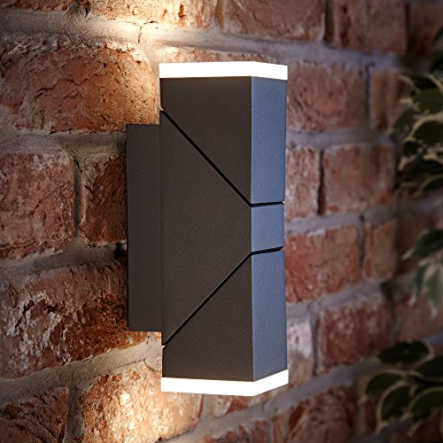 Biard Double Up Down Square Modern Anthracite Outdoor Light - Fully Adjustable LED Wall Light - IP54 Waterproof Protection Ideal Outside Lighting for Garden, Patio, Drive, Garage & Front Door