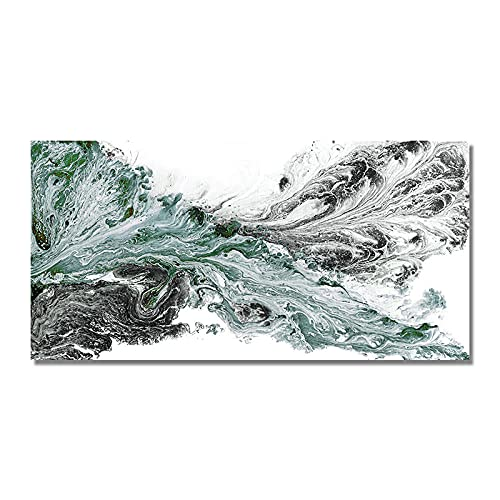 ZHJJD Pintura de Lienzo de Paisaje Marino Verde Claro nórdico Arte de Pared Horizontal Poster Verdes Cuadros Abstractos Modernos Impresiones de Decoracion de Salon de Estar 50x100cm Sin Marco