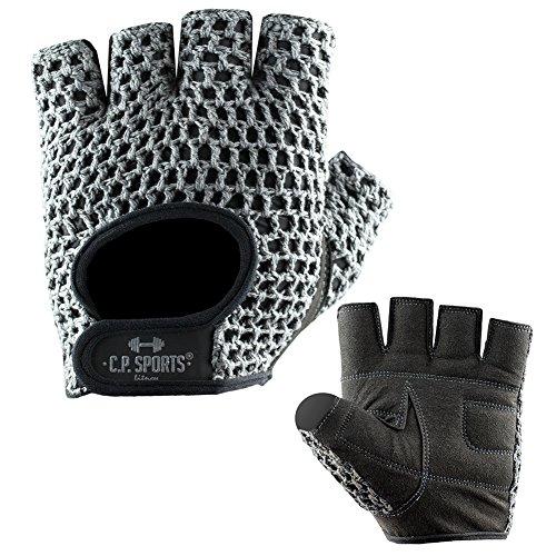 C.P. Sports Fitness Handschuh Klassik Trainings Handschuhe farbig L/9 = 20-22cm Silbergrau für Damen & Herren