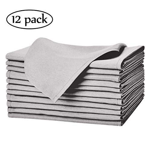 EVENTSDECO Cloth Napkins Washable and Soft Gray Dinner Napkins 12 Pack Polyester Napkins