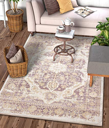"Well Woven Millie Tribal Lavender Medallion Area Rug 8x11 (7'10"" x 10'6"") Purple Beige Modern Distressed Oriental Plush Super Soft Carpet"