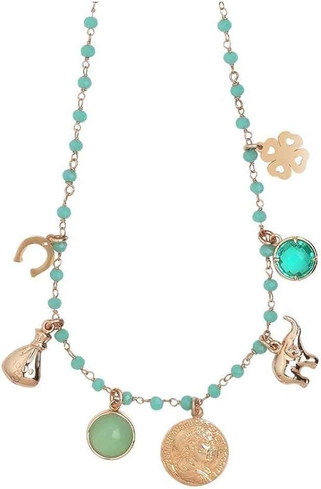Boccadamo, collana per donna,in bronzo placcato oro rosa con cristalli verde acqua e charms ispirati Xgr513Rs