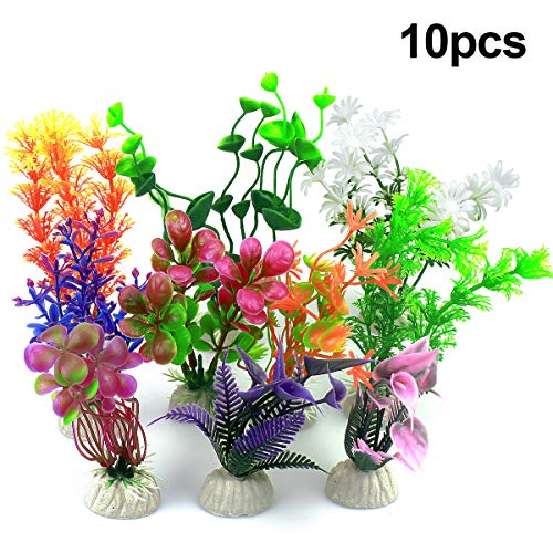 Vascinate Aquarium Kunststoff Pflanzen, 10 Stück Aquarium Dekorationen, Aquarium künstliche Pflanzen Aquarium Dekoration