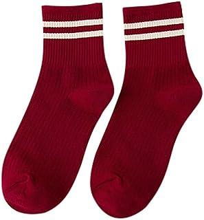 Calcetines Nuevas calcetín Socks Mujer Calcetines cómodos del calcetín del monopatín del algodón de la Raya Unisex Calcetines de Dos Barras de Color sólido Color Pure calcetín