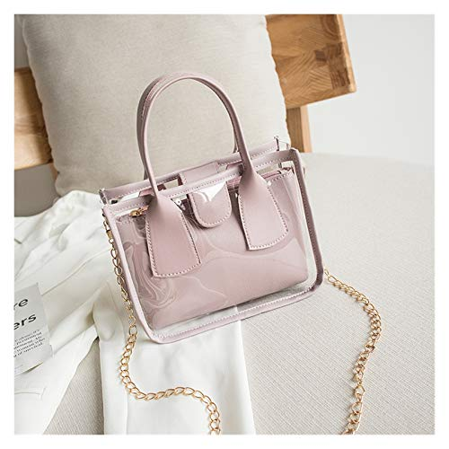 2020 Moda Tendencia Mujeres Damas Color Sólido Crossbody Handbag PVC PU Cuero Zipper Bolsas Compuesto Bolsas Cadena Correa de Hombro Monedero (Color : Purple)