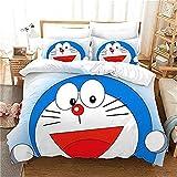 Doraemon - Juego de funda de edredón para niños (3 fundas de almohada) para cama individual (135 x 200 cm)