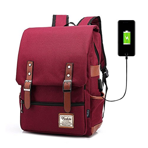 Professional Laptop Backpack with USB Charging Port, FEWOFJ Fashion Travel Bag Vintage Business Work Computer Rucksack College School Casual Daypack for Women Girls (Wine)