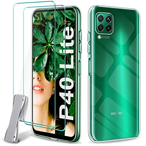 Younme Cover Huawei P40 Lite Case, Transparent Thin Case TPU Silicone Case + [2 Pack] Tempered Glass Protective Film [with Anti-Slip Hand Strap] for Huawei P40 Lite