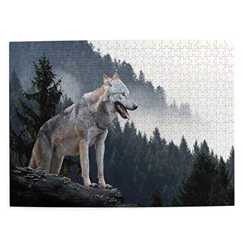 Lichenran Jigsaw 500 Pezzi per Gli Adulti,Legname Wolf Hunting Mountain,uzzle per Bambini Puzzle Adulti,Gioco familiare,Festa Aziendale,Picture Puzzles,Regalo per Amore e Amico