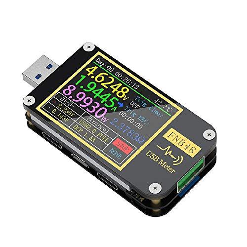 USB 3.0 Tester Spannungsprüfer Meter Voltmeter Multimeter Amperemeter Digitaler Leistungsmesser PD Ladegerät Typ-C Messgerät Leistungsmesser Power für Stromstärke Spannung Kapazität