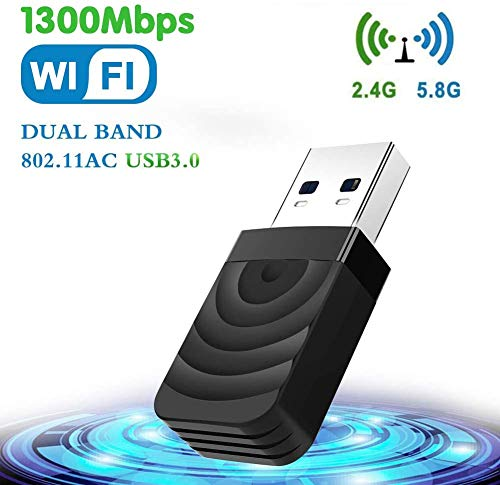 TouchSKY USB WiFi WLAN Adapter, WiFi Stick 1300Mbps Wireless USB 3.0 Adapter Dual Band WiFi (5.8Ghz/867Mbits + 2.4GHz/400Mits) WLAN Empfänger für PC/Laptop unterstützt Windows 10/8/7/Vista/XP MacOS X