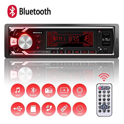Autoradio Bluetooth Main Libre, 2 Ports USB Poste Stéréo Radio, 1 Din Radio Voiture, 7 Couleurs d'éclairage FM/USB/SD/AUX/EQ / MP3 Player + Télécommande