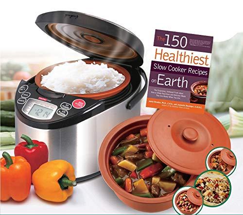 VitaClay VM7900-8 Smart Organic Multi-Cooker- A Rice Cooker, Slow Cooker, Digital Steamer plus bonus Yogurt Maker & The 150 Healthiest Slow Cooker Recipes on Earth Book (Bundle)