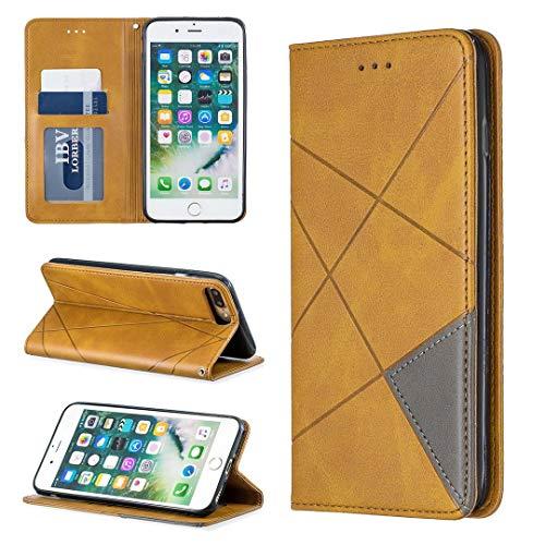 Saturcase Rhombus Hoesje voor Apple iPhone 7 Plus/8 Plus, PU-leer, met ingebouwde magneetvakken, vakjes voor pasjes, standfunctie, telefoonhoesje, hoesje voor Apple iPhone 7 Plus/8 Plus., geel