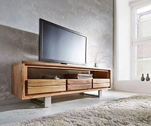DELIFE Fernsehtisch Live-Edge Akazie Natur 146 cm 1 Fach 3 Schübe Baumkante Lowboard