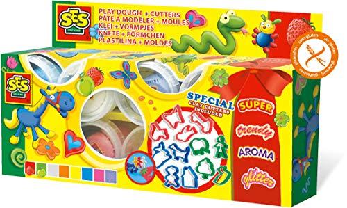 SES Creative Super Dough, 8 Farben Knetmasse, Mehrfarbig