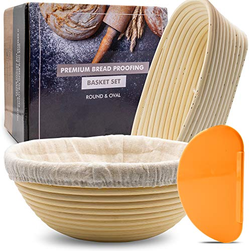 Bread Proofing Basket - [Round and Oval Set] Banneton Baking Bowl Dough Rising - Perfect Gifts for Home Bakers - Premium Handmade Rattan - Linen Liner, Dough Scraper Included - Crown Equipments