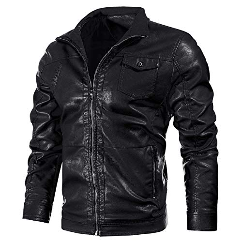 VICALLED Mens Casual Leather Jacket Slim Fit Stand Collar PU Motorcycle Coat Lightweight