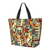FJJLOVE Bolso de hombro Jazz Fusion Bolso de gran capacidad Bolso de mano ligero Bolso de playa de viaje para mujer