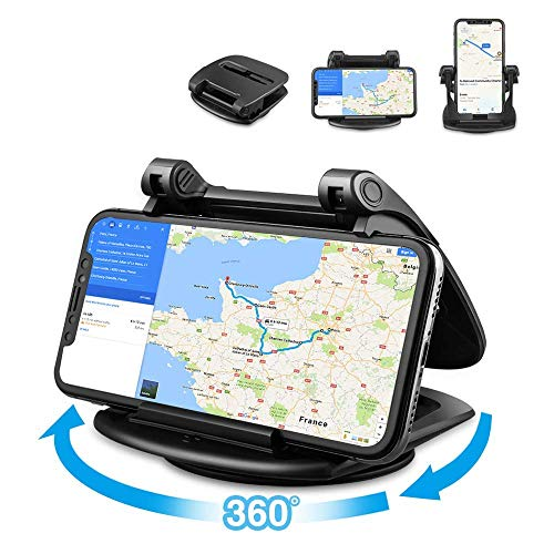 Phone Holder for Car, 360° Rotate Strong Sticky Gel Premium 3M Dashboard Car Phone Mount Cradle [Easy Opening & Neat Folding] Hold Phones Vertically/Horizontally for iPhone, Android Smartphones, GPS,d