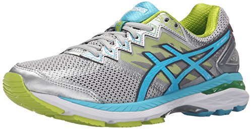 ASICS Women's GT-2000 4 Running Shoe, Silver/Turquoise/Lime Punch, 6.5 2A US