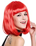 WIG ME UP- 0073-3-PC13 Peluca Mujer Carnaval Halloween Disco Party Corto Longbob Bob Flequillo Rojo