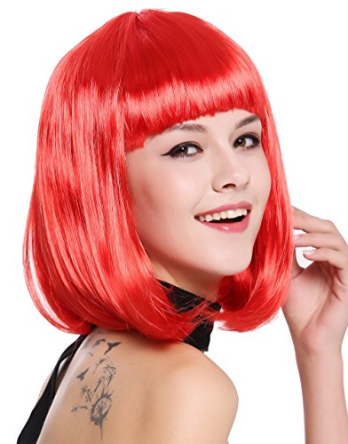 WIG ME UP ® - 0073-3-PC13 Peluca Mujer Carnaval Halloween Disco Party Corto Longbob Bob Flequillo Rojo