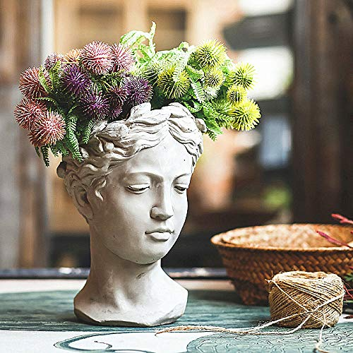 zenggp Retrato Creativo Arte Retro Florero Cabeza De Cemento Maceta Venus Diosa Griega Estatua Florero Artesanía Decoración