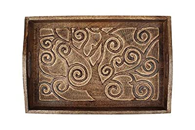 Nirvana Class Hand Carved Wooden Breakfast Serving Tray with Handle for Tea Snack Dessert Kitchen Dining Serve-Ware Accessories 15 x 10 Inches