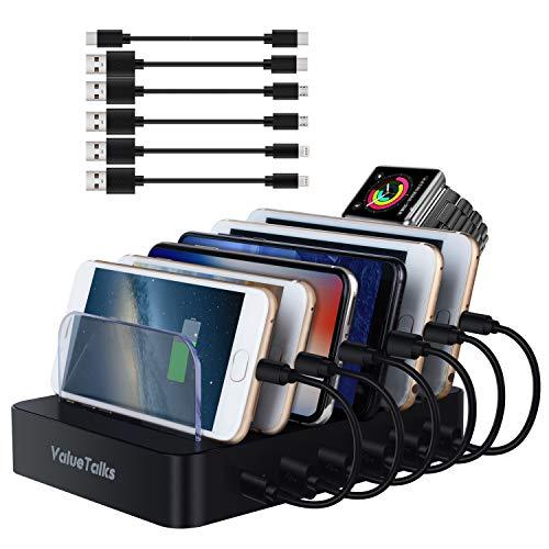 ValueTalks Estación de Carga 6 Puertos con Base de Carga para Huawei Galaxy Phone Móvil y Tableta(Incluído 6 Cables para Carga)