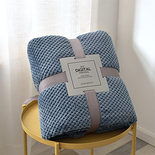 BESTORI Manta de Algodón con Tejido de Gofre Manta para Cama Manta para Sofá Manta de Tejido Estilo Boho Azul 200×230cm