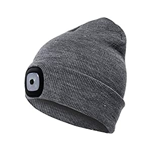 IDEAL CHRISTMAS BIRTHDAYS GIFTS IDEAS - Comfortable, warm, and washable, our Unisex Lighted Beanie Cap provides incredible hands-free lighting so you can get on with things in cold days. A perfect Gifts for Men Dad Him Father Husband Boyfriend Handym...