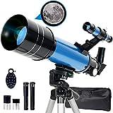 Upchase Telescopio Astronomico, Portátil y Potente Refractor Telescopio, Azul 400/70mm Zoom HD,...