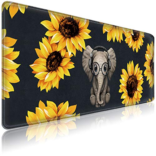 """Gaming Mouse Pad for Laptop Computer Large Desk Pad Mat XXL (31.5""""X 12"""") Extended Cute Mousepad with Stitched Edges Office Mouse Pads Mat Decor Keyboard Pad Desk Mat for Desktop - Sunflower Elephant"""