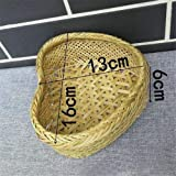 WEIGENG Cesta de almacenamiento de bambú natural tejida a mano, en forma de corazón, para frutas, caramelos, ratán, pan,...
