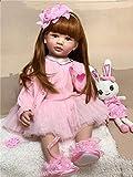 Zero Pam 60CM muñecas Reborn niña Pelo Largo Reborn Toddler Grande Cuerpo de Tela rellena muñecas recién Nacida niña Vestido Rosa