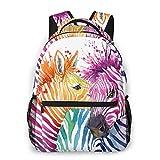 Fehuew Girls Cute Colorful Zebra Backpacks Kids Bookbag 16 Inch Laptop Bag Shoulder Bag Casual Daypack For 1-5th Grade