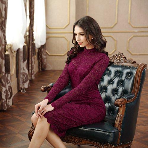 Miusol Damen Elegant Kleider Rundhals Knilanges Spitzenkleid Stretch Ballkleid Abendkleid - 2