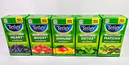 Tetley Super Green Teas Heart,Detox,Boost,Sunshine,Immune, Functional Teas Selection,5 Boxes,100 Teabags
