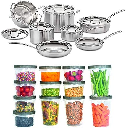 Cuisinart MCP 12N MultiClad Pro 3 Ply Stainless Steel 12 Piece Cookware Set Bundle with 25 Piece product image