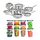 Cuisinart MCP-12N MultiClad Pro 3-Ply Stainless Steel 12-Piece Cookware Set Bundle with 25-Piece Set Plastic Storage Containers Batch Cooking for the Week (2 Items)