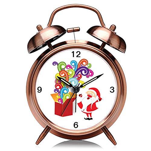 Reloj de Navidad retro de cobre silencioso con luz de noche doble campana despertador 320. Lindo Papá Noel y caja de regalo de Navidad personalizado reloj despertador