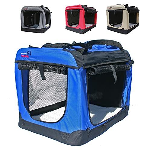 Hundetransportbox faltbar Transportbox für Hunde Hundebox Auto - Dogi Kennel - 6 Größen - 4 Farben (XXXL (102 x 69 x 69 cm), Blau)